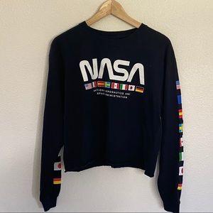 NASA Graphic crop top Sz L